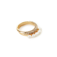 FOREVER 21 Rhinestone & Faux Pearl Ring Set Gold/Cream