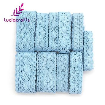 Lucia Crafts 2y/6y Blue Cotton Embroidered Lace Trim Ribbons DIY Garment Headdress Wedding Wrapping Fabric Materials 050021163