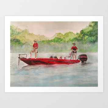 Fishing for Bass Art Print by DJ Beaulieu