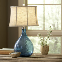 "Birch Lane Sapphire Glass 28.28"" H Table Lamp with Bell Shade"