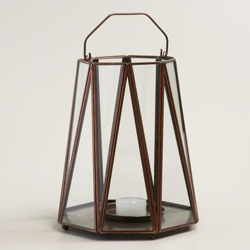 Antique Copper Metal Riley Zigzag Lantern
