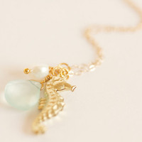 Seahorse Charm Necklace - Bridesmaids Necklaces for Destination Beach Weddings - White Freshwater Pearl Aqua Seafoam Chalcedony - Mermaid