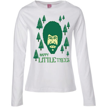 Bob Ross Happy Little Trees Men's T-Shirt ForestGreen Mens-01  Ladies' Long Sleeve Cotton TShirt