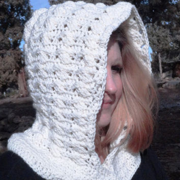 Crochet Hookie, Neck Warmer, Off White-White Hoodie Cowl with button front tab, Warm Wool Yarn, Crochet, Free Shipping USA only