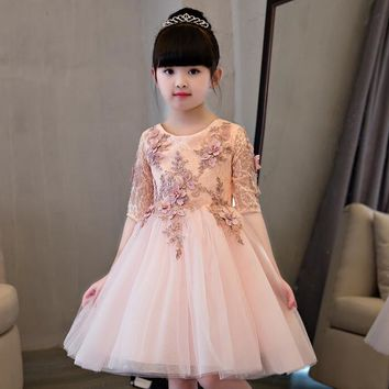 Elegant Flower Girl Dress For Weddings Appliques Tulle Evening Party Dresses Half Sleeve Baby Christening Dresses Prom Gown