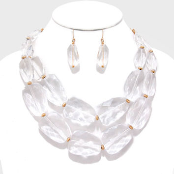 Bubble Statement Bead Necklace Earrings Fashion Jewelry Gold Clear Boutique
