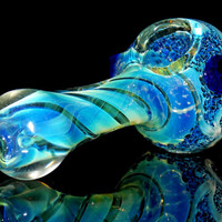 Spiral to the Moon - Large Glass Spoon Pipe - Color Changing Silver Fumed Helix Chamber - Lunar Surface Blue Frit Bowl