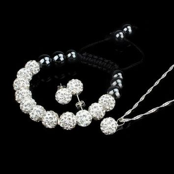 """10MM"" Crystal Ball Shamballa Bracelet Earrings Set Necklace Jewelry WH"