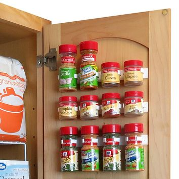 Evelots Spice Organizer-24 Clip Strips-Strong Hold-In/Out Cabinet-No Tool-Set/6