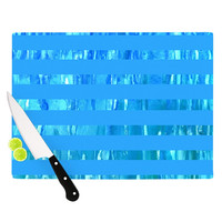 "Rosie Brown ""Wet Wild Stripes"" Aqua Blue Cutting Board"