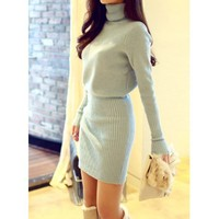 Sweet Turtleneck Candy Color Long Sleeve Knitted Dress For Women | Kitty's Clawset