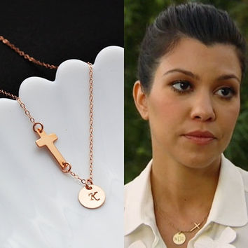 Personalized Sideways Cross Necklace, Rose Gold Initial disc Necklace, Initial Disc and Cross Necklace