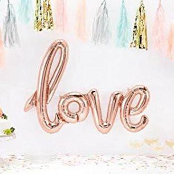 "putwo love handwriting Letter giant balloon 42.5"" x 25.2""+100 Spot Glues, Rose Gold"
