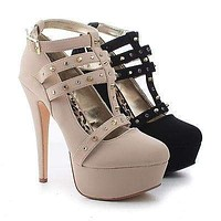 Lawless By Dollhouse, Almond Toe T-Strap Studded Ankle Buckle Platform Stiletto Heels
