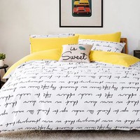 Letter Printing Bedding Sets Duvet Cover Set bed Linen RU USA Size,Quilt cover bed sheet set bedding duvet cover white black