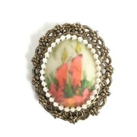 Christmas Brooch Pendant with Hand Painted Christmas Candles Faux Pearls and Antiqued Gold Frame, Large Holiday Pendant