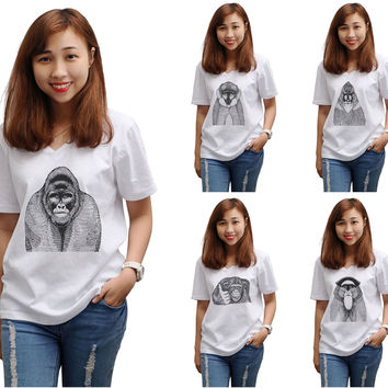 Women Hand Draw Monkeys Printed Short Sleeves T-shirt WTS_16