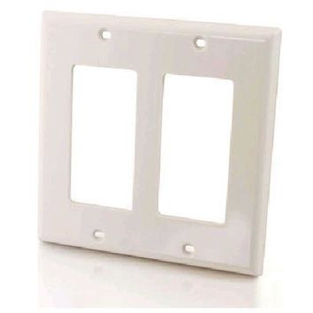 C2g Decorative Double Gang Wall Plate - White