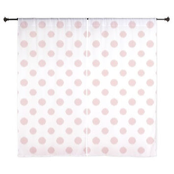 Pink Curtains - Chiffon Curtains - Sheer Curtains - Dorm Room Curtains - Girls Curtains - Bedroom Curtains - Teen Curtains - Polka Dots