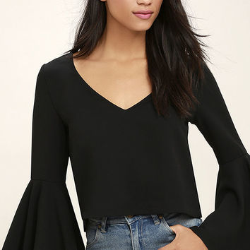 Ring the Bell Black Long Sleeve Crop Top