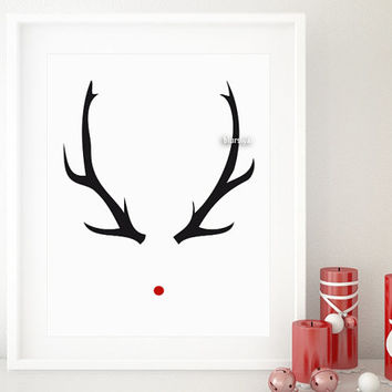 One year anniversary sale: rudolph red nose print, antlers printable art, Christmas printable. Black friday sale, cyber monday sale -pp191