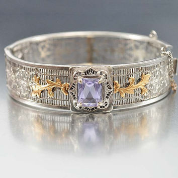 Alexandrite Art Deco Bracelet, Silver Filigree Bangle, Purple Blue Cuff Bracelet, Antique Jewelry, Art Deco Jewelry, Bridal Bracelet