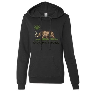 California Republic Weed Bear Ladies Lt./Wt. Hoodie
