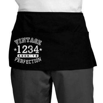 Personalized Vintage Birth Year Distressed Dark Adult Mini Waist Apron by TooLoud