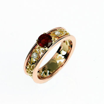 Garnet and diamond filigree engagement ring made from rose and yellow gold, unique engagement, red gem, diamond ring, garnet filigree band