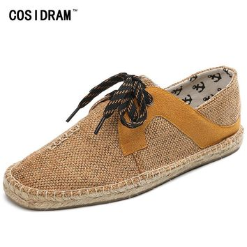 2017 Hemp Soft Bottom Men Casual Shoes Lace-Up Flat Heels Men Shoes Breathable Male Espadrille Fisherman Shoes Flats RMC-852-1
