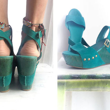 Vintage 90s Teal Green Wedges Studded Sandals Genuine Leather Suede Mega Platform Open Toe Boho Ankle Strap Shoes Bohemian Club Kid size 8US