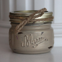 Distressed Mason Jar, Gold Candle, Shabby Chic Candle, Gold Wedding Centerpiece, Rustic Kitchen Decor, Scented Candles, Gold Wedding, Gold