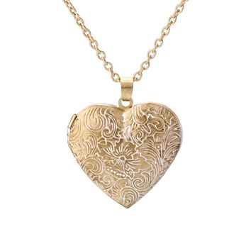 KUNIU Photo Frame Memory Locket Women Pendant Necklace Gold Peach Heart Shaped Hollow Carved Flower statement Long necklace