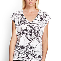 FOREVER 21 Abstract Dolman Top Cream/Charcoal
