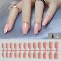 Shrimp powder Full Nail Simple Artificial Pink Ballerina Fake nail 24pcs coffin nail tips Designs Pure colour False nails B02