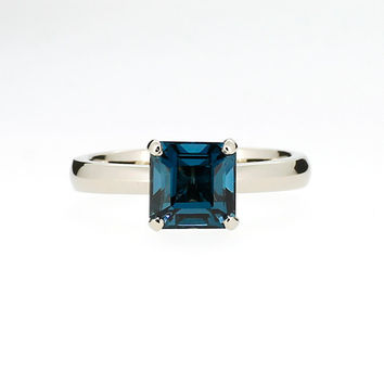 Platinum engagement ring with emerald cut London blue topaz, teal engagement, solitaire, unique, square topaz ring, blue engagement, custom