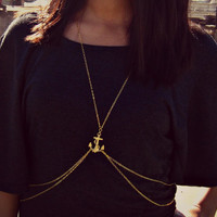 anchor body chain, anchor necklace, body harness, body jewelry, chain vest, statement necklace