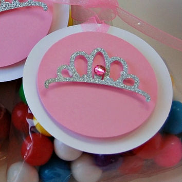 Pink Princess Themed Birthday Party Favor Tags (12)
