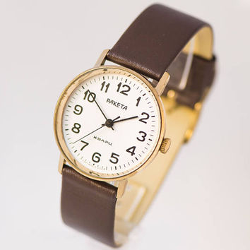 Quartz wrist watch minimalist, mens watch simple Rocket gold plated watch Soviet wristwatch classical look unisex, new premium leather strap