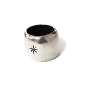 Black Diamond North Star Ring, heavy solid sterling statement ring cigar band stars gypsy boho free spirit big large band twinkle celestial