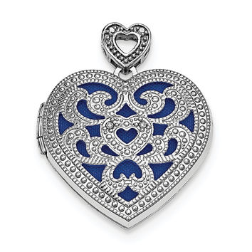Sterling Silver Rhodium-plated 24mm Heart w/Diamond Vintage Locket QLS610