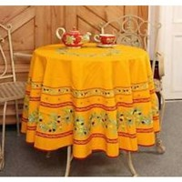 "Special Price at $39...Round Mediterranean Ramatuelle Olives Sprigs 72"" Dia Red Bands Cotton Tablecloth on Yellow * In Plain or Coated Cotton"