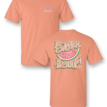 Sassy Frass Life is Sweeter in the South Watermelon Girlie Bright T Shirt