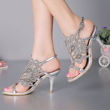 Stiletto Heel Sandals Strappy Summer Sandals Black Rhinestone Heels Sandals Wedding Bride Shoes Red Silver Prom Party Open Toe