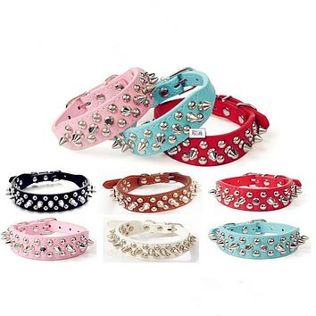 Pet Small Dog Collar Adjustable Harness Spiked Studded Faux Leather punk rivet dog collar PU round nail dog chain dog supplies