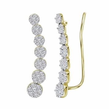 10kt Yellow Gold Women's Round Diamond Cluster Climber Earrings 1-2 Cttw - FREE Shipping (US/CAN)