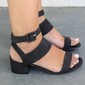 Either Way Black Open Toe Heels