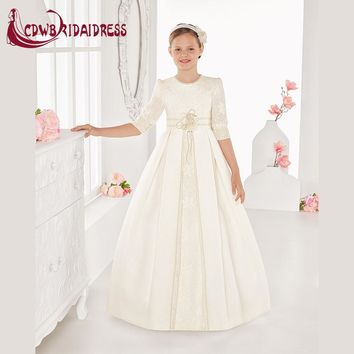 Vintage Ivory Appliques Flower Girl Dresses For Weddings Satin Half Sleeve Holy First Communion Dress Children Graduation Gowns