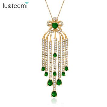 LUOTEEMI Brand Bohemia Design Luxury Bridal Tassel Flower Big Pendant With Chains Necklaces For Women Wedding And Friends Party