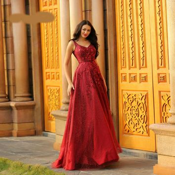 Red Evening Dress Elegant Beading Backless Sleeveless A-Line Sexy V-neck Empire Waist Burgundy Ball Gowns